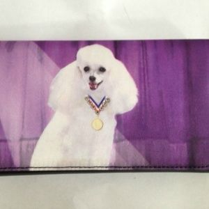 Poodle Dog Wallet Checkbook Style Trifold New
